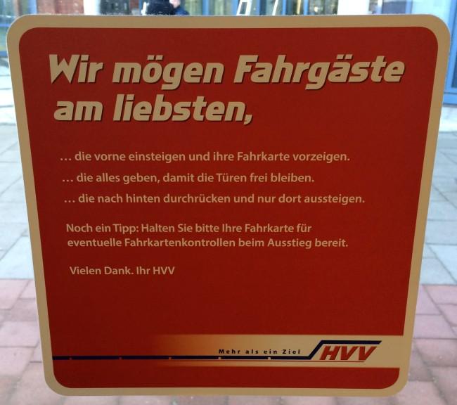 Hamburger Hinweise vom HVV