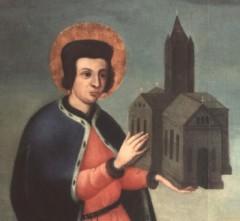 Ein Stifter mit der von ihm gestifteten Kirche