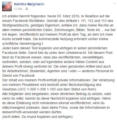 Facebook Kettenbrief