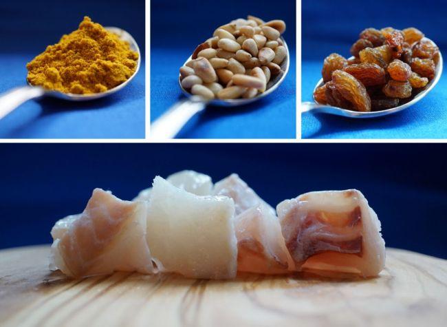 Rotbarsch, Curry, Pinienkerne, Rosinen