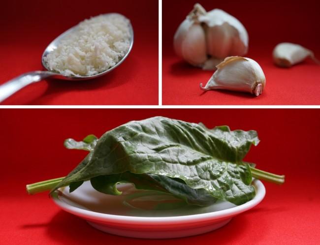 Spinat und Knoblauch